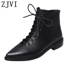 ZJVI women square low heels genuine leather ankle boots  2019 winter autumn cross tied woman ladies pointed toe shoes for girls