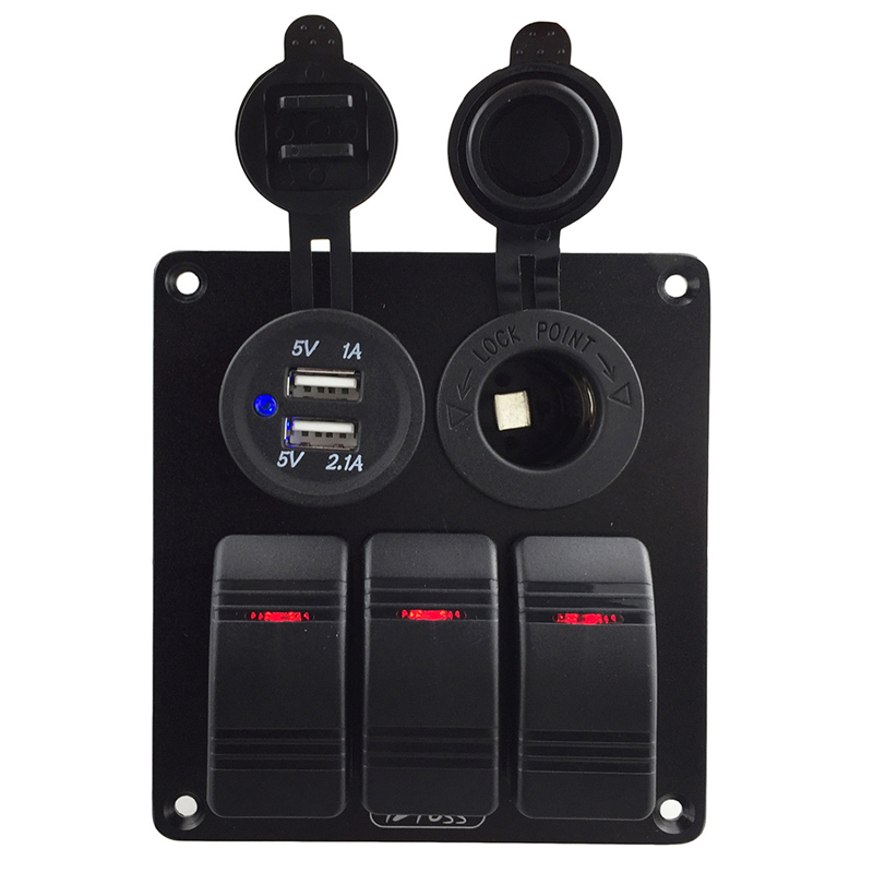 12V 24V RV Yacht Marine Boat Rocker Switch Panel Switches Waterproof Dual USB Car Charger Cigarette Lighter Socket Accessories autoec waterproof 8 gang rocker switch panel cigarette socket cigarette lighter 4 2a double usb power charger adapter for rv car