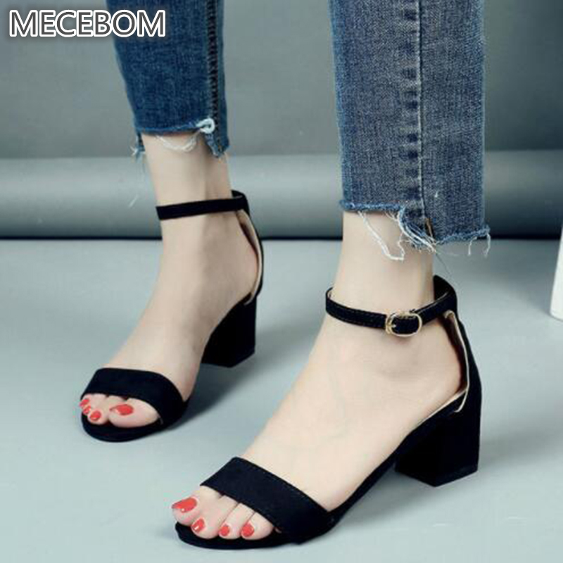 2018 Summer Women Sandals Open Toe Flip Flops Women's Sandles Thick Heel Women Shoes Korean Style Gladiator Shoes 1216W