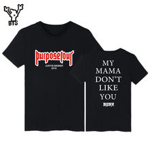 BTS Justin Bieber Purpose Tour Pop Short Sleeve Tshirts New Style Fashion Funny Casual T-Shirts Men/Women T-shirt Plus Size 4XL(China)