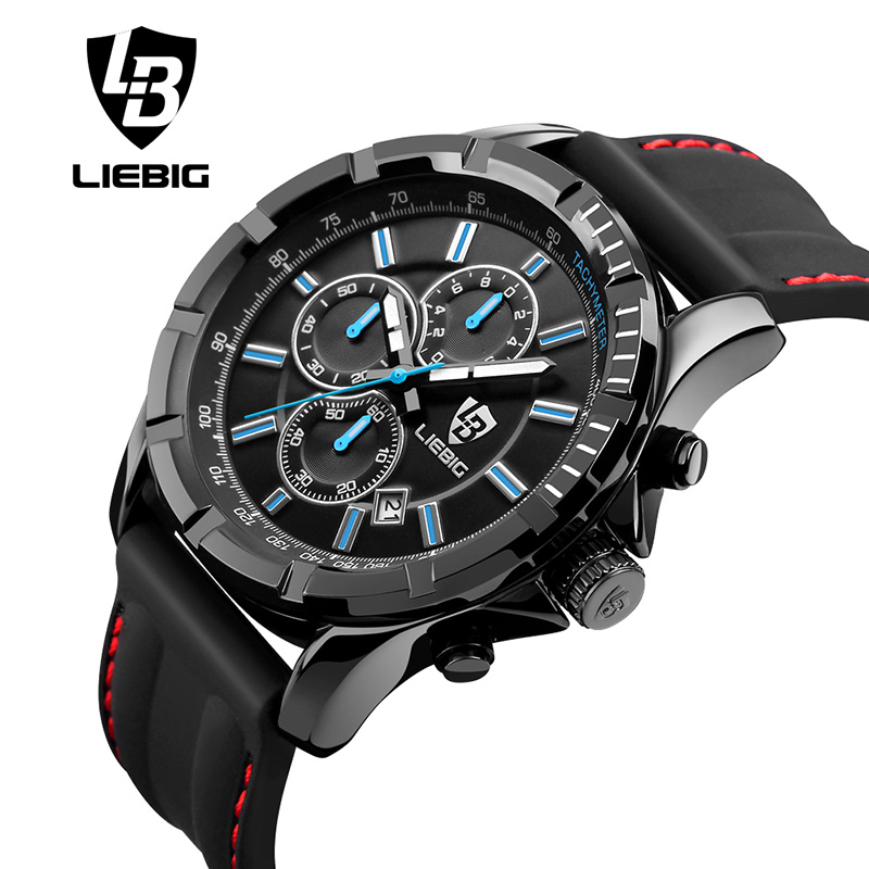 LIEBIG Big Dial Quartz Watch Men Sports Watches 50M Waterproof Fashion Calendar Military Wristwatches Relogio Masculino SX161015 men quartz watches military fashion men business casual quartz wristwatches 50m waterproof watch relogio masculino liebig 1018