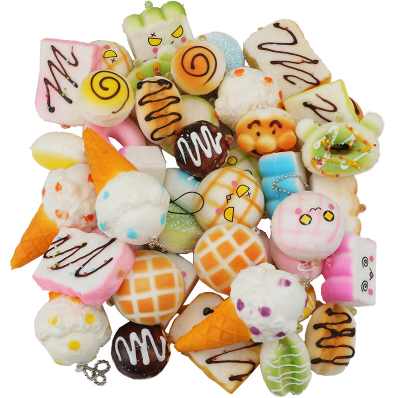 30pcs Squisy Slow Rising Food Squeeze Toy Keychain Squishy Set Rainbow Cake Bread Ice Cream Anti-stress Soft Toys For Adults