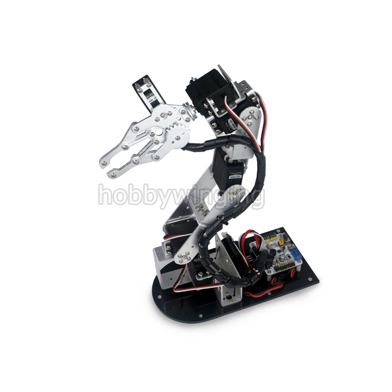 купить 2017 new 6 DOF Robot Metal Alloy Mechanical Arm Clamp Claw Kit with digital Servos optional for Arduino Robotic Education недорого