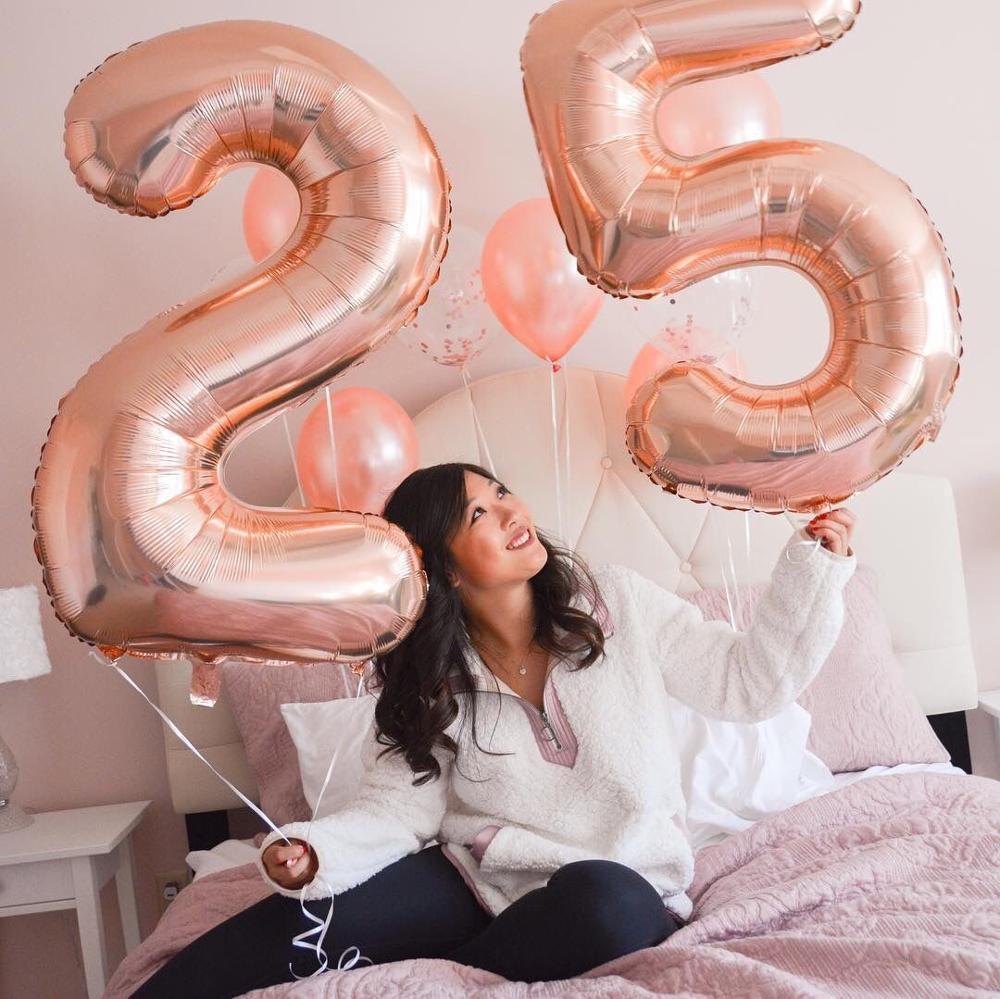 2 шт. 32 или 40 дюймов счастливые 25 ко дню рождения Фольга шарики розового и голубого цвета золотой номер 25th лет вечерние аксессуары для мальчи...