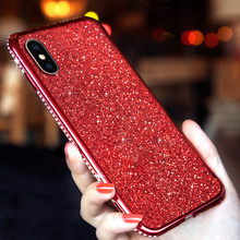 Caso de diamantes para iPhone XR 6 S 6 7 8 Plus X XS X MAX Huawei P20 P30 Mate 10 funda de silicona brillante Lite Nova 3 Honor 7X 8X(China)