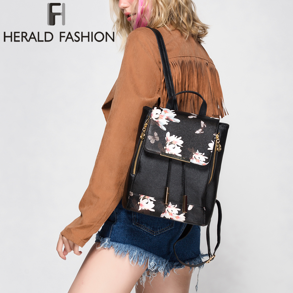Herald Fashion Preppy Style School Backpack Artificial Leather Women Shoulder Bag Floral School Bag For Teens Girls #2