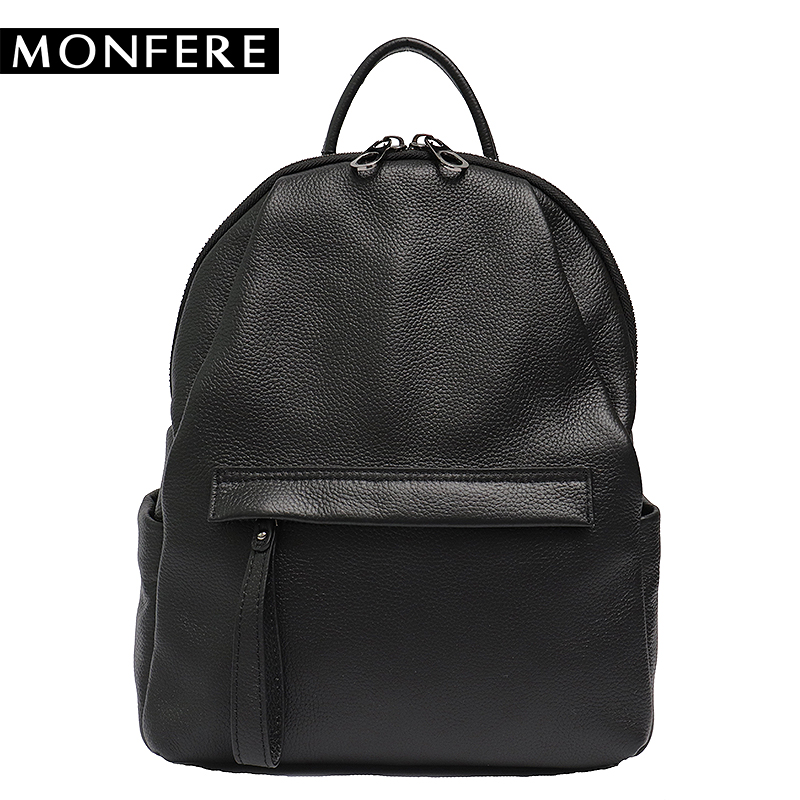 MONFERE Genuine Cow Leather Women Backpack School Backpacks for Teenage Girls Casual Large Capacity Shoulder Bags Preppy Daypack 33cm women backpack oil wax cow genuine leather backpack for teenage girls school large capacity shoulder bag brown tote mochila