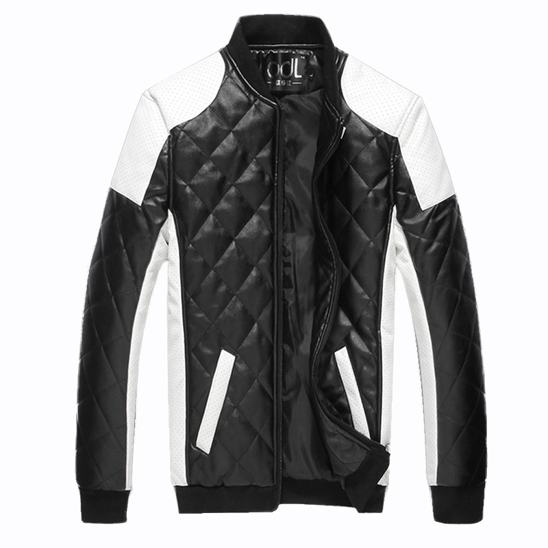 Herbst männer PU Baumwolle Jacken Schwarz Weiß Patchwork Leder Jacke Moto Biker Jacke Lokomotive Oberbekleidung Männlichen Casual Mantel