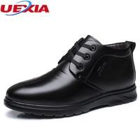 UEXIA גברים חורף נעלי מגפיים חמות לעבות פרווה מגפי קרסול פורמליות משרד עסקי זכר אופנה עור אוקספורד הרי עבודה