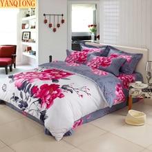 YANQIONG alta calidad 100% algodón de impresión reactiva juego de cama funda de almohada funda nórdica hoja de cama de la reina king size