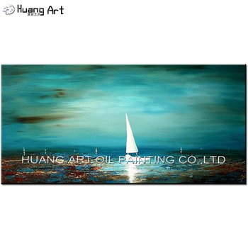 Original Big Oil Painting Abstract Sailboat Oil Picture for Living Room Home Decor Handmade Modern Turquoise Seascape Painting
