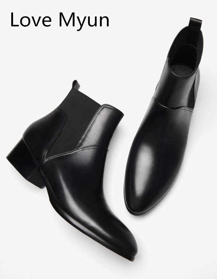Spring autumn genuine leather men boots high heels men s wedding dress shoes  pointed toe slip on e8715937fb13