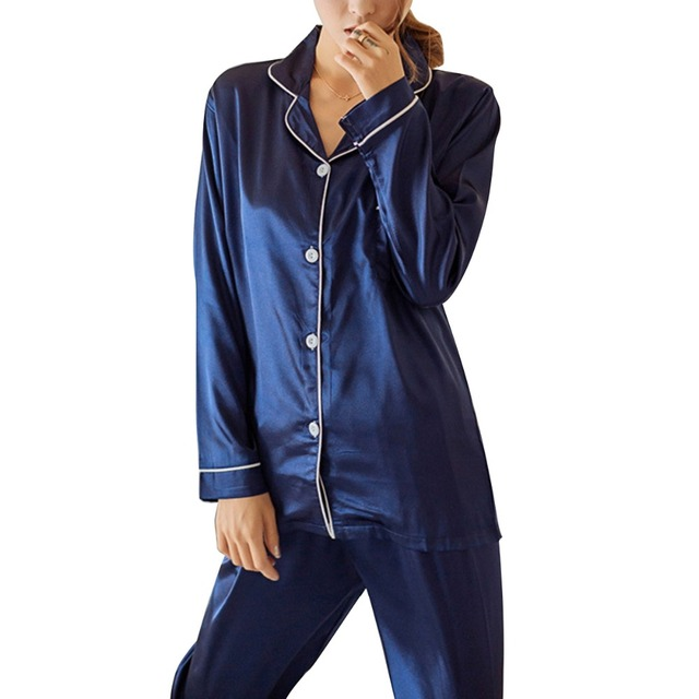Womens Silk Satin Pajamas Pyjamas Set Long Sleeve Sleepwear Pijama Pajamas Suit Female Sleep Two Piece Set Loungewear Plus Size