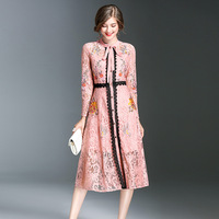 Fashion Lace Dress 2017 Women Elegant Vintage Celebrity Winter Ladies Long Sleeve Evening Party Club Boho
