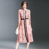 Fashion Lace Dress 2017 Women Elegant Vintage Celebrity Winter Ladies Long Sleeve Evening Party Club Boho