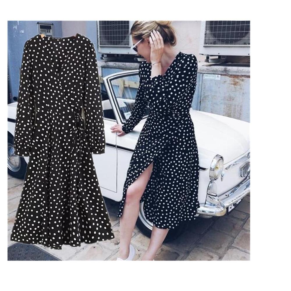 Toppies Women 2018 Autumn Women Polka Dots Chiffon Dress Winter Women Long Dress Vintage Corduroy Floral Dress