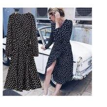 768313d6bf9ddfe Toppies Для женщин 2018 Для женщин белый черный горошек шифоновое платье  объемные рукава миди длинное платье Винтаж Обёрточная б.
