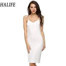 HALIFE Long Slip Summer Solid Spaghetti Strap Sleeveless Knee Length Bottoming Soft Womens Slips Underwear Jupon Femme XXL 608