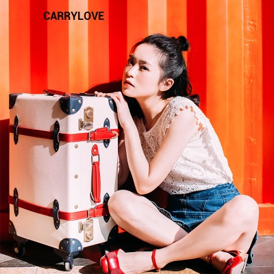 CARRYLOVE Business Women travel essential 20/24/28 inch PU Vintage Rolling Luggage Spinner brand Travel Suitcase