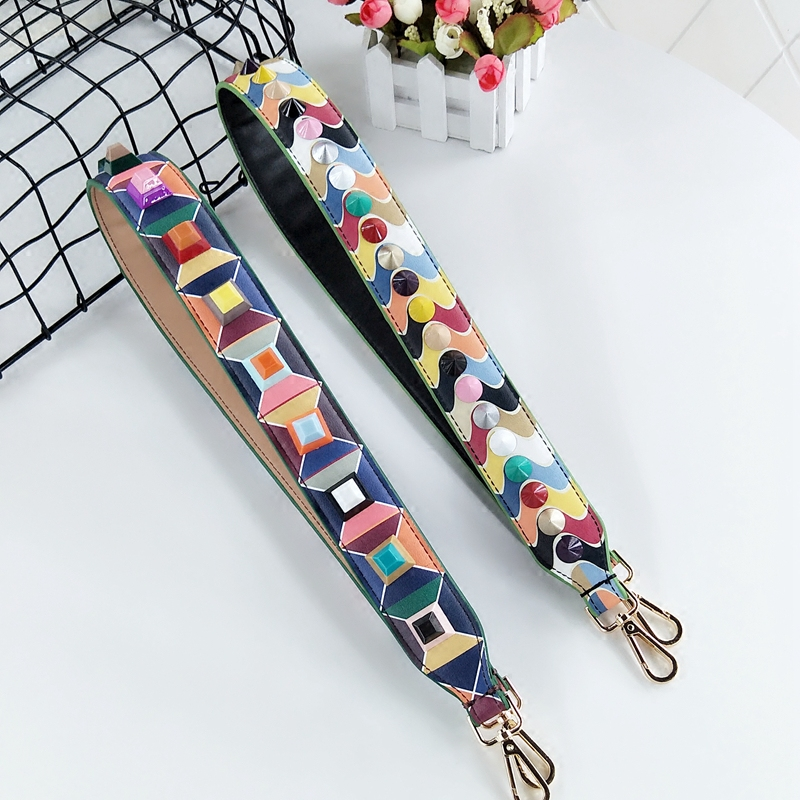 spell color straps euramerican fashion one shoulder inclined across a wide straps bump color printing rivets bag belt