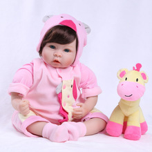 22 inch 55 cm Silicone baby reborn dolls for Children Rosa garment beautiful birthday gift doll