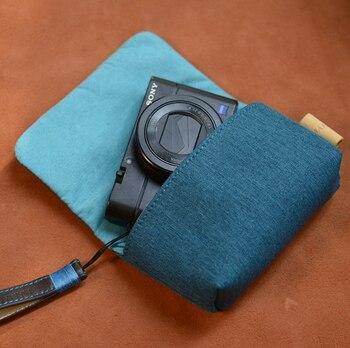 Roadfisher Nylon torba na aparat kieszeń do przechowywania dla Sony RX100 RX100II RX100M2 M3 M4 M5 Canon G7X G7X2 G9X Panasonic LX10 ZS100 ZS110