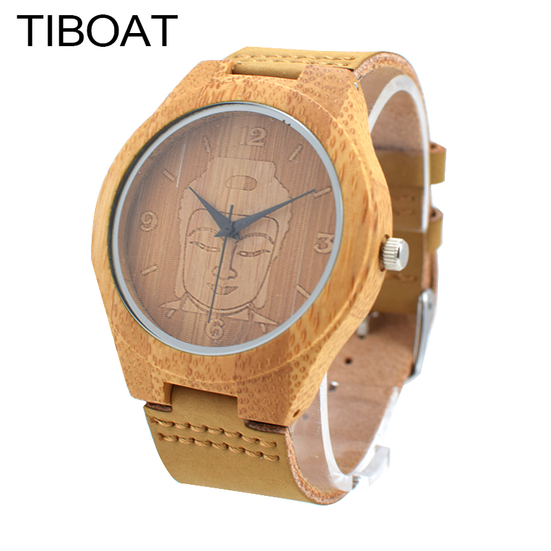 TIBOAT To Bring Good Luck For Everyone Gift Watch Natural Bamboo Simple Bamboo Wooden Watch Genuine Leather Quartz Wristwatches hand made mens wooden bamboo quartz watch black genuine leather watchband simple unique modern wristwatch gift for male female