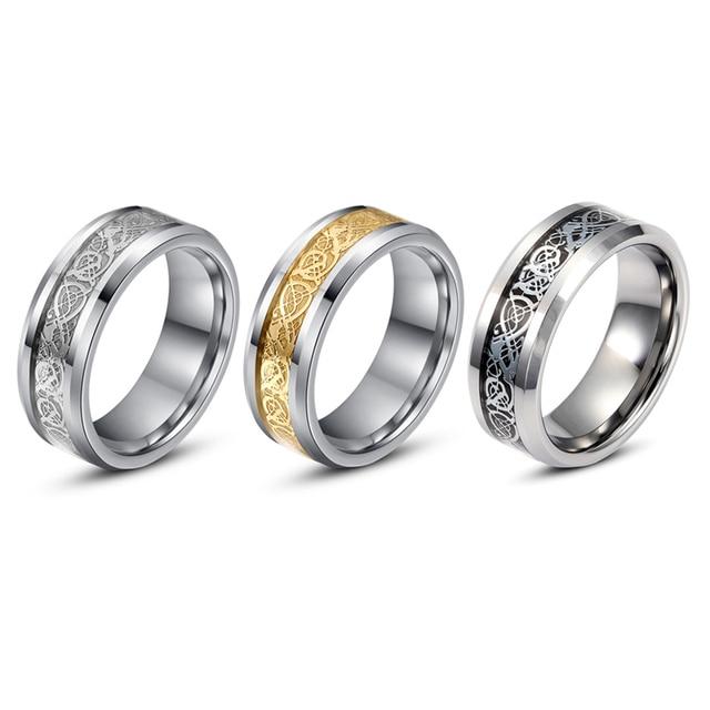 Fashion Men Women 8MM Width Celtic Dragon Titanium Steel Ring Wedding Band