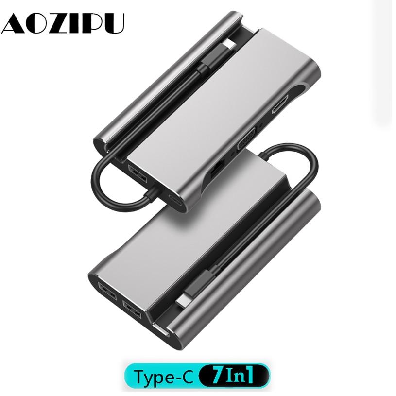 USB Type C To HDMI VGA RJ45 PD USB 3.0 Type-c Docking Station USB-C HUB Adapter For Mac Air Pro Huawei Mate10 Samsung S8