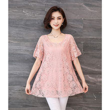 Spring and summer new style Loose t-shirt womens large size short-sleeved top Temperament lace