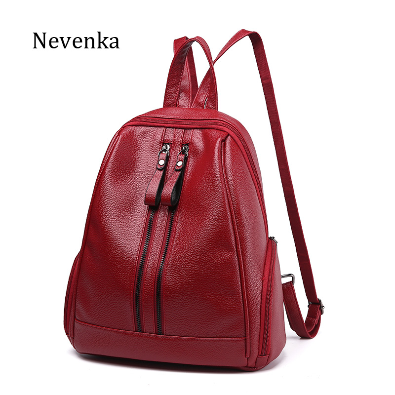 NEVENKA Women Leather Backpack Female Zipper Fashion Style Backpacks Young Girl Casual Shoulder Bag Lidy Softback Solid Hand Bag cool walk backpack women s backpack shoulder bag leather bag sheepskin bag rivets decoration fashion young women backpack punk