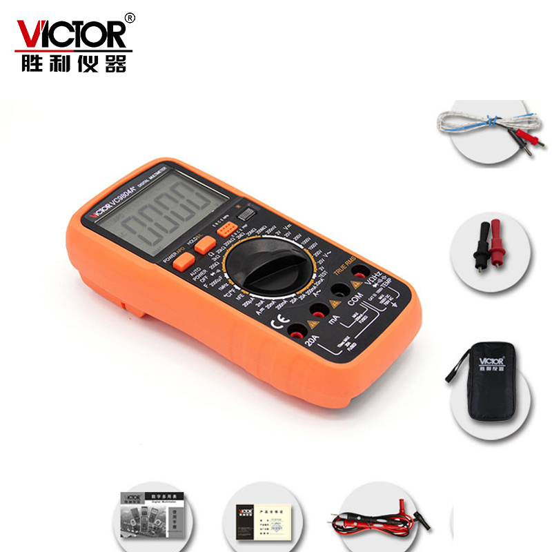 VICTOR VC9804A+ Digital Multimeter Auto Range Temperature Test Streamline Design & Large LCD Display multimeter test leads digital auto range