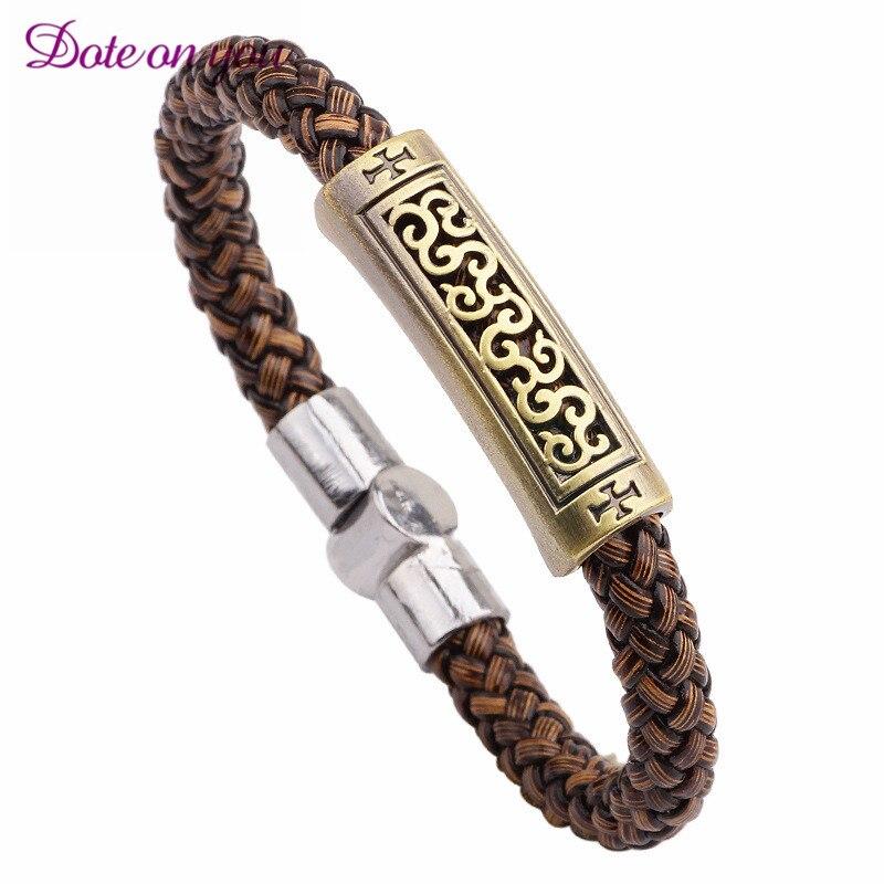 2017 New Handmade Retro Leather Woven Anchor Charm Bracelet Men Vintage Braided Bracelets Bangles Male Jewelry Gifts