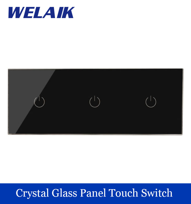 Touch Switch Screen Crystal Glass Panel Switch EU Wall Switch   Light Switch  1gang+1gang+1gang 1 way Black for LED Lamp welaik crystal glass panel smart wireless switch eu wall switch 110 250v remote touch switch screen wall light switch 1gang 1way black