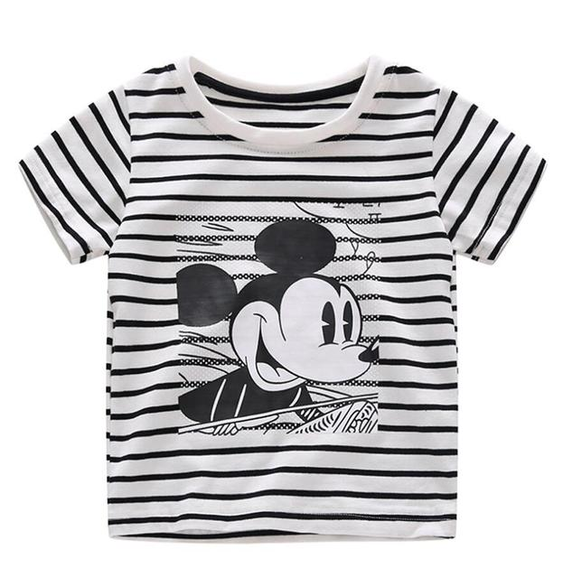 2019 New Infant Boys Girls Summer Cartoon Striped T Shirt + Denim Shorts Clothes 2pcs Sets Children Kids Hole Jeans Clothing