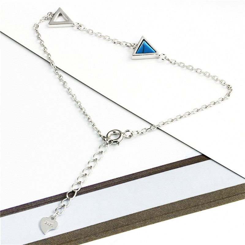 Flyleaf 925 Sterling Silver Triangle Turquoise Hollow Charm Bracelets For Women Simple Fashion Fine Jewelry Bracelets Bangles in Bracelets Bangles from Jewelry Accessories