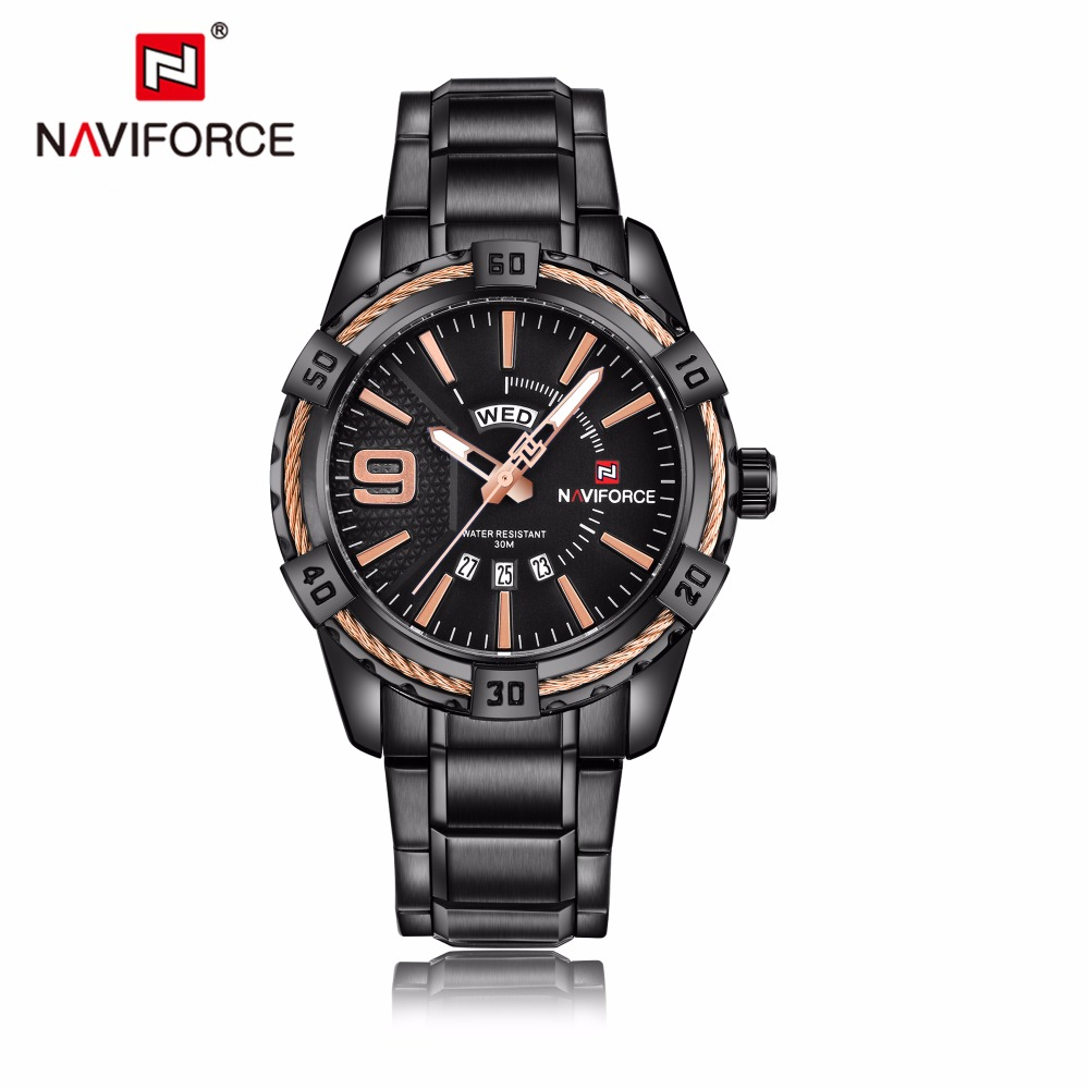 NAVIFORCE Quartz Watch Men Luxury Famous Stainless Steel Wristwatches Auto Date Week Male Clock Watches Relogio Masculino 9117