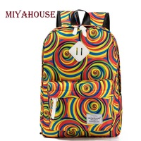 Miyahouse Brand Canvas School Backpack For Teenager Colorful Circle Printed Travel Rucksack Girls Large Capacity Laptop