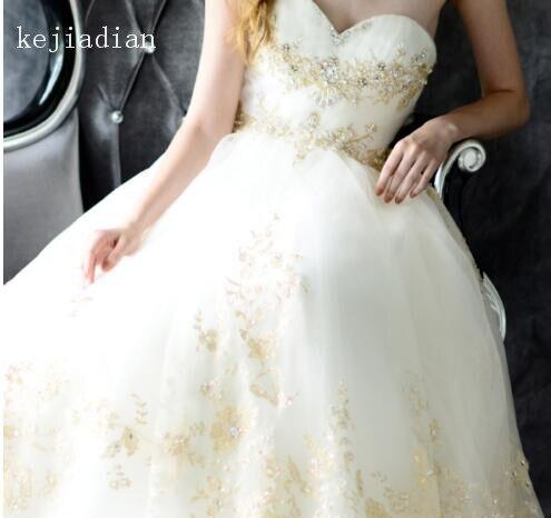 Image 2 - الذهب الدانتيل تول أبيض/العاج فستان الزفاف الديكور مثير يزين الحبيب كاتدرائية قطار ثوب الزفاف ثوب الزفاف vestidosفساتين الزفاف   -