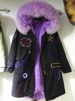 Индивидуальные новый дизайн зима mr Mrs меха куртка с натуральным мехом енота, Модные фиолетовые меха черная парка Бисероплетение пальто