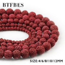 купить BTFBES Natural Stone Red Color Lava Beads Red Volcanic Rock 4 6 8 10 12mm Round Loose Beads For Jewelry Bracelet Making DIY Ball дешево