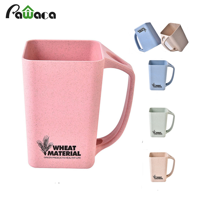 White Straw Food Grade PP Coffee Mug 45 Degree Dust Proof Nature Healthy Drinking Water Coffee Tea Cup Mugs For Home Office