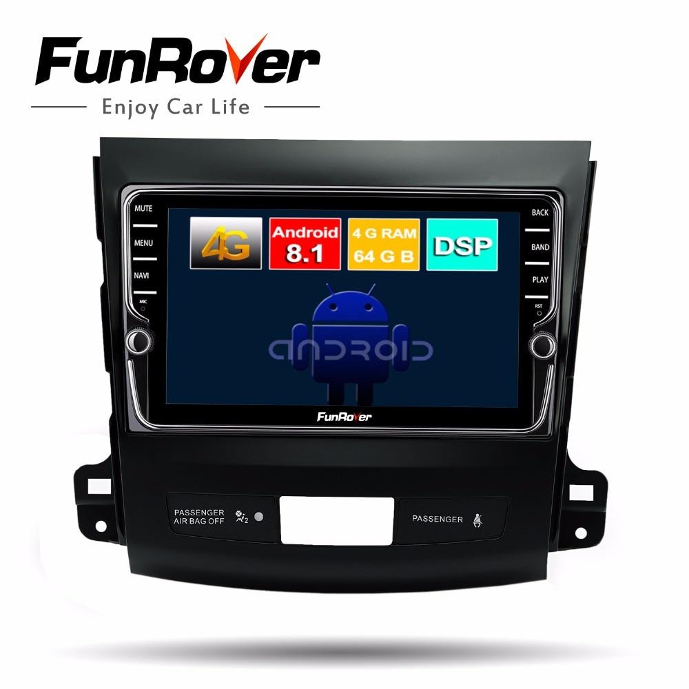 Funrover Octa 8 core android 8.1 voiture dvd gps radio pour Mitsubishi Outlander 2006-2014 multimédia lecteur navigation stéréo BT DSP