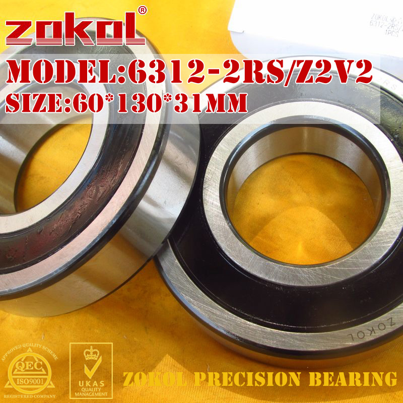 ZOKOL 6312-2RS bearing 6312 2RS Z2V2 180312/Z2V2 Deep Groove ball bearing 60*130*31mm zokol 6311 2rs bearing 6311 2rs z2v2 180311 z2v2 deep groove ball bearing 55 120 29mm