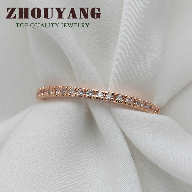 Top Quality Gold Concise Classical CZ Wedding Ring Rose Gold Color Austrian Crystals Wholesale ZYR132 ZYR133 4