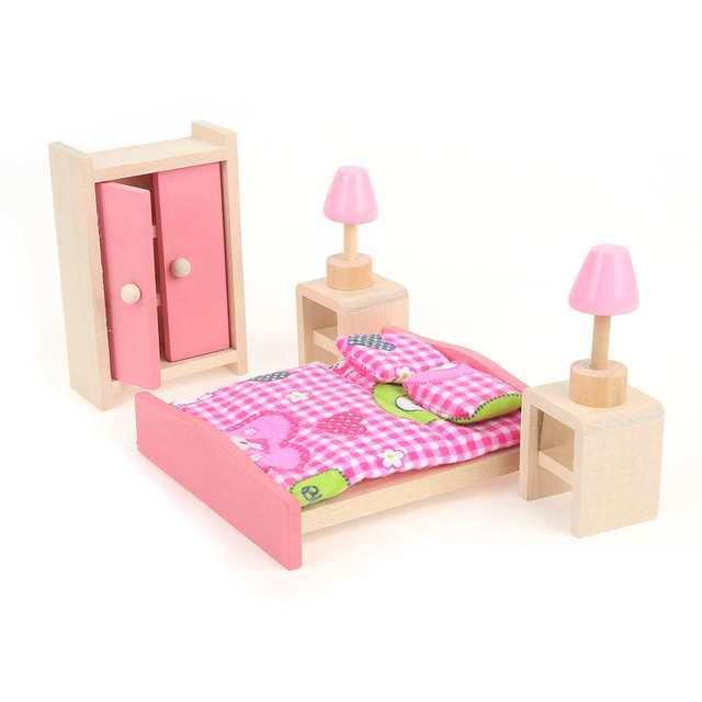 Holz Puppenhaus Miniatur möbel Kinder Schlafzimmer Küche Set ...