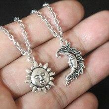 Sun & Moon Pendant Necklaces , Celestial Friendship, Couple Necklaces, BF GF Charms Chain Silver