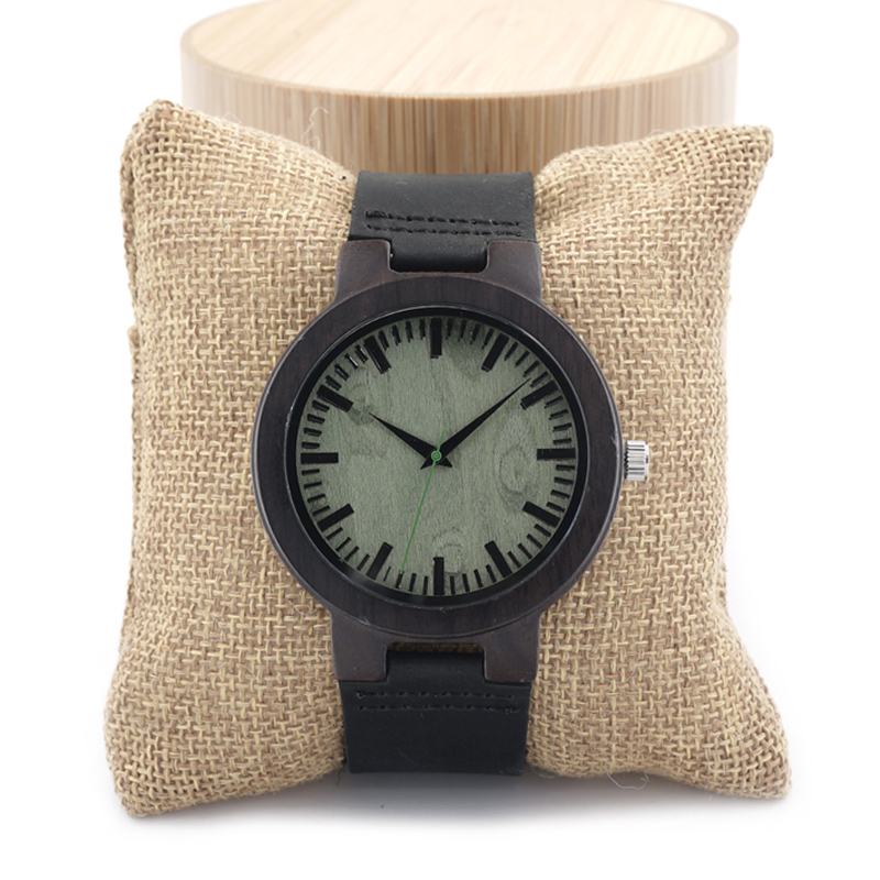 BOBO BIRD C25 Wooden Watch Men Brand Designer Leather Band Green Dial Face Pointer 100% Ebony Wood Quartz Watches in Gift Box