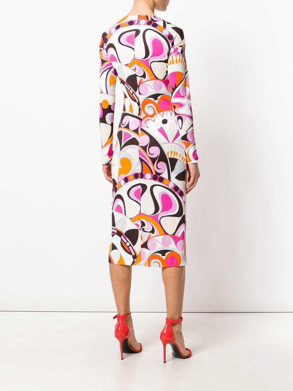 جديدة الأوروبية والأمريكية فستان وردي جولة طوق طويل الأكمام سليك جيرسي مرونة محبوك سليم طباعة اللباس-في فساتين من ملابس نسائية على  مجموعة 3