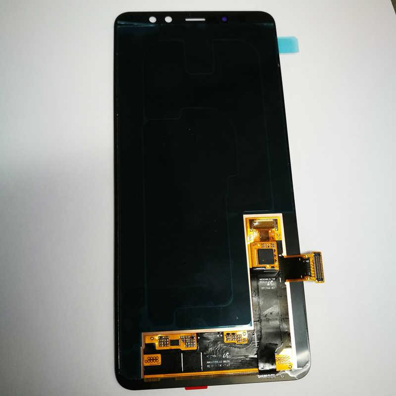 الأصلي سوبر Amoled شاشة LCD لسامسونج غالاكسي A8 زائد 2018 A730 A730F A730X شاشة إل سي دي باللمس محول الأرقام جودة عالية